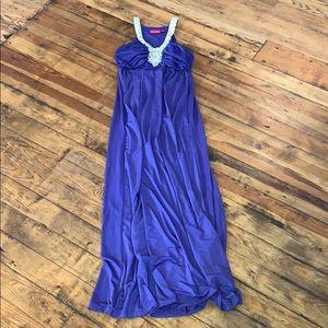 Purple floor length dress beaded neckline